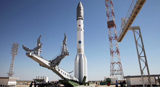 Trägerrakete Proton-M auf dem Startplatz des Weltraumbahnhofs Baikonur im Mai 2015. Foto: AP