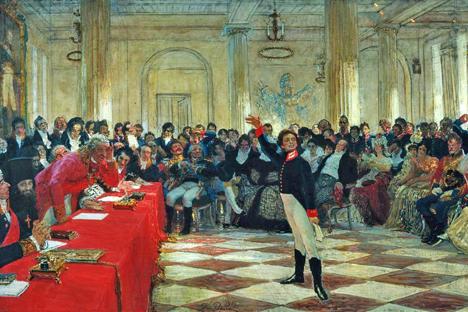 Alexandre Pouchkine, âgé de 14 ans, déclamant un de ses poèmes devant le vieillissant Derjavine au Lycée impérial de Tsarskoïe Selo. Tableau d'Ilya Repine