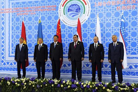 Les dirigeants des six pays membres de l'OSC lors du sommet annuel à Douchanbé (Tadjikistan), en septembre 2014.