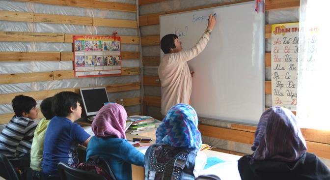 """Leçon dans l'""""école syrienne"""" de Noguinsk."""