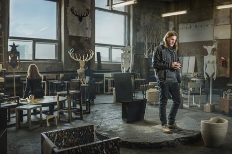 Showroom des Möbelherstellers Archpole in einer alten Lampenfabrik im Osten des Moskauer Stadtzentrums.