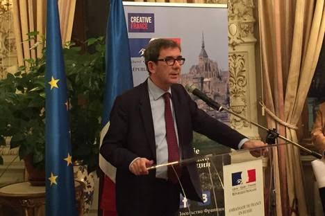 L'ambassadeur de France en Russie, Jean-Maurcie Ripert,  lors de la cérémonie des vœux à la presse.