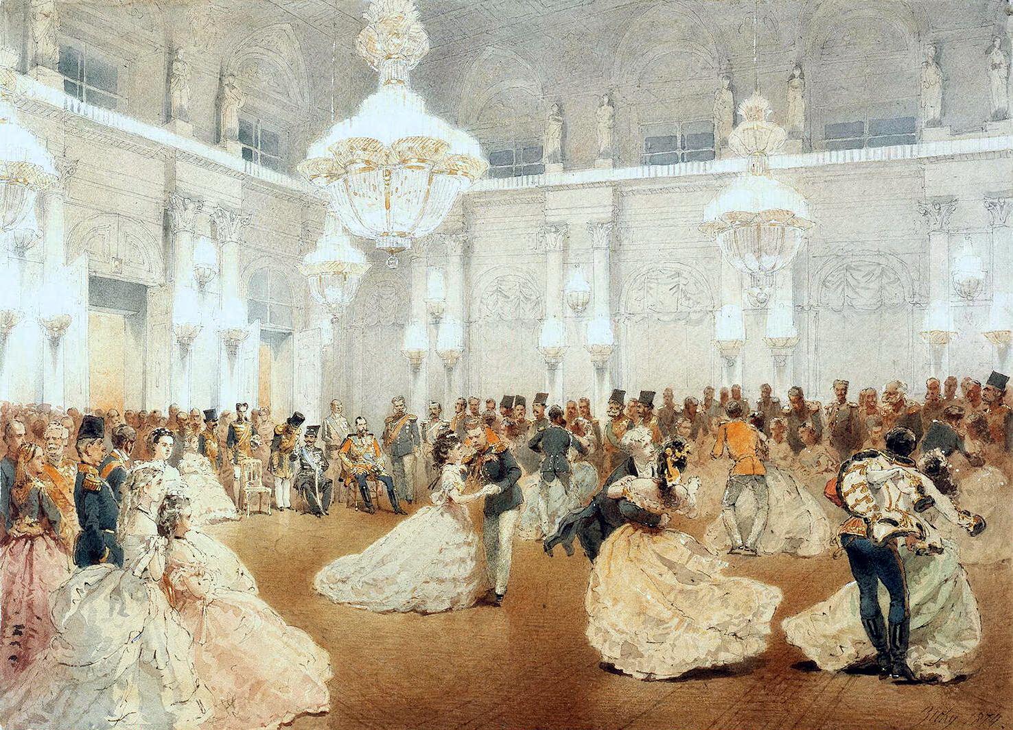 Bal au Palais d'Hiver par Mihály Zichy. Wikipedia.org
