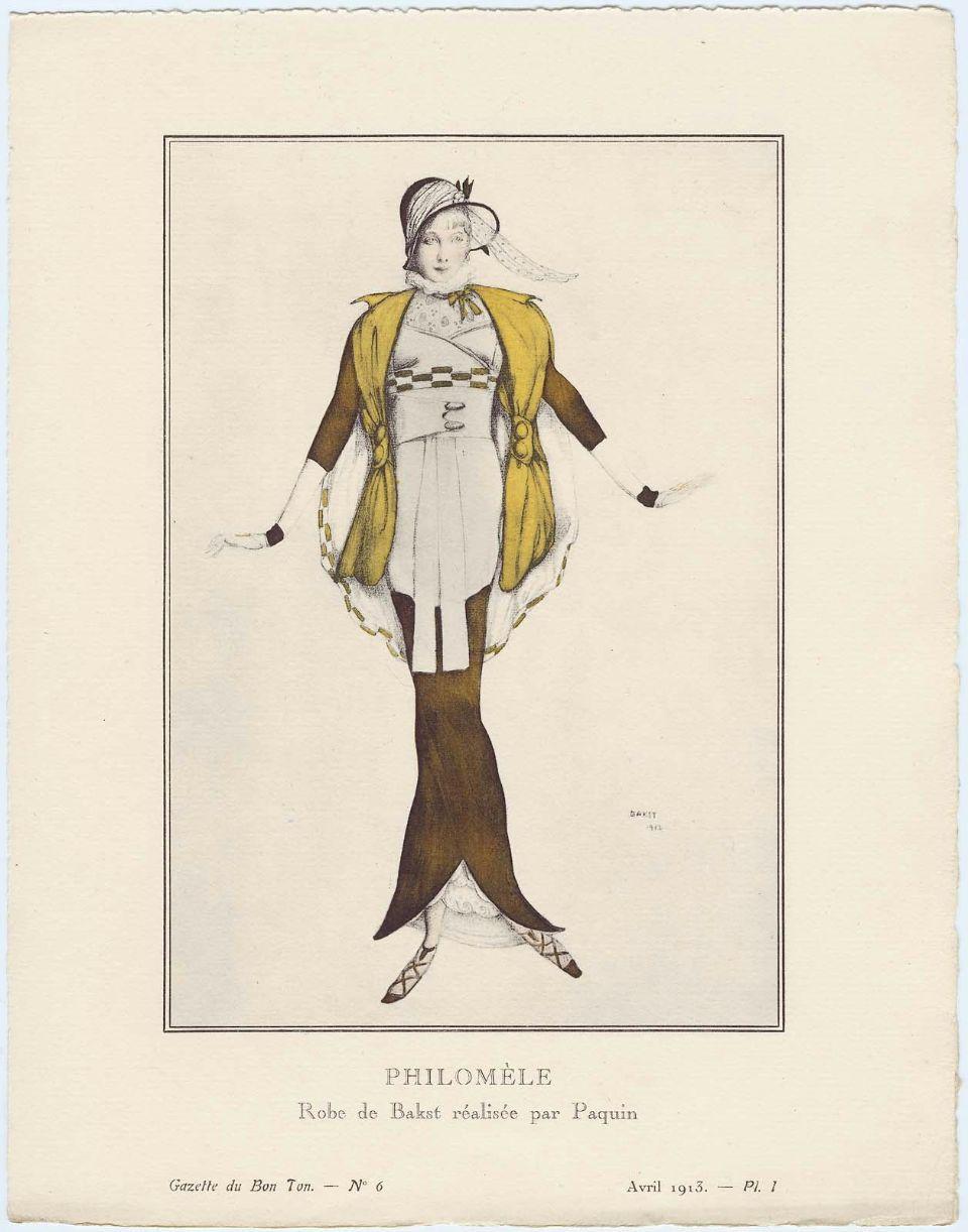Philomèle. Robe de Bakst réalisée par Paquin. Source libre