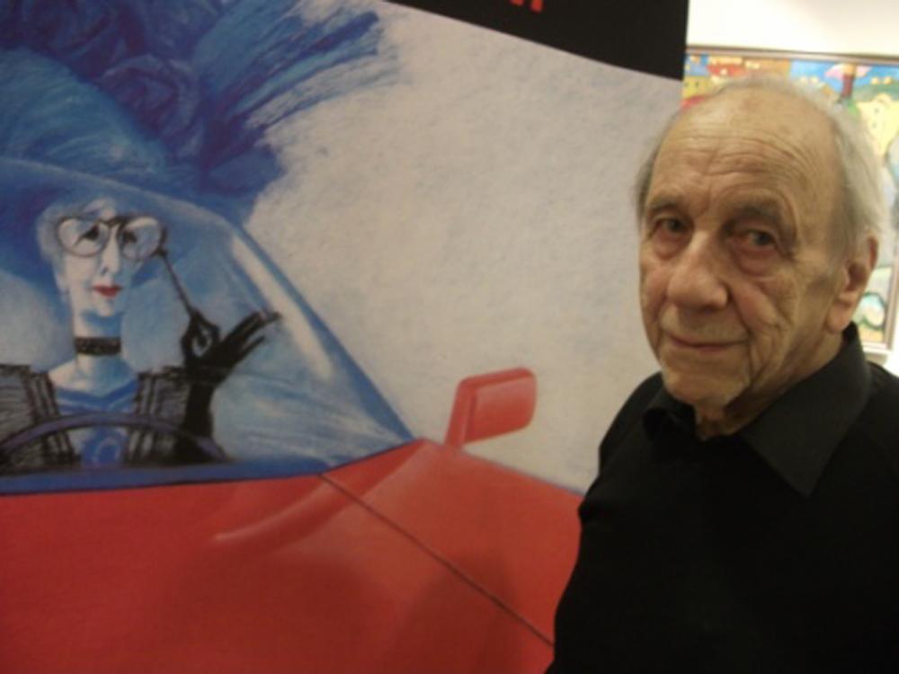 Cyril Arnstam avec son affiche pour l'exposition automobile de Paris de 1984