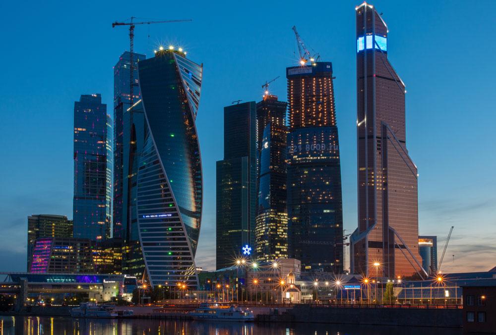 Centro comercial da capital conhecido como Moscow City