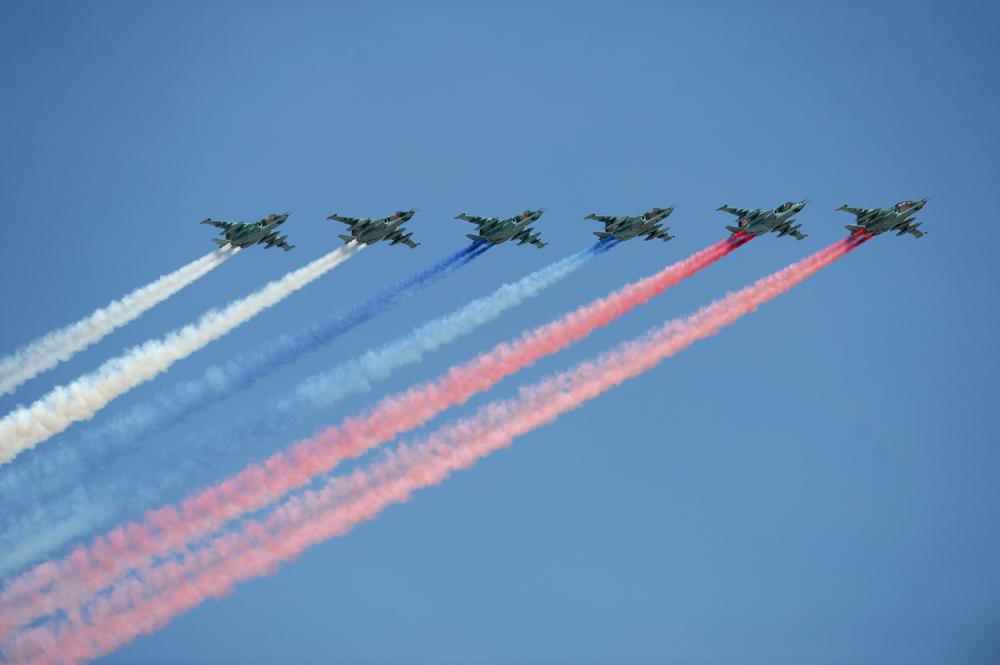 Su-25 selama parade Hari Kemenangan di Moscow.