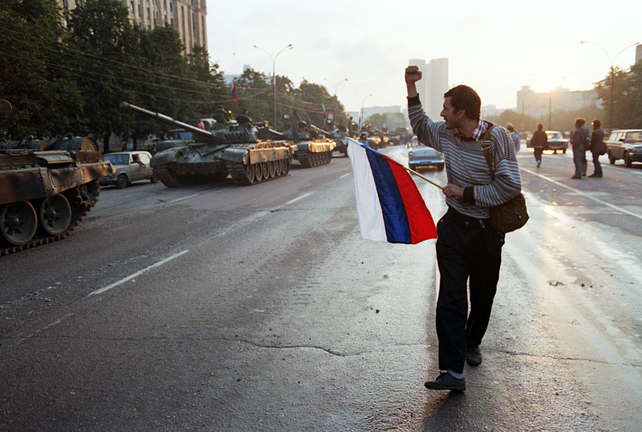 Man Cheering Passing Tanks. January 01, 1991.
