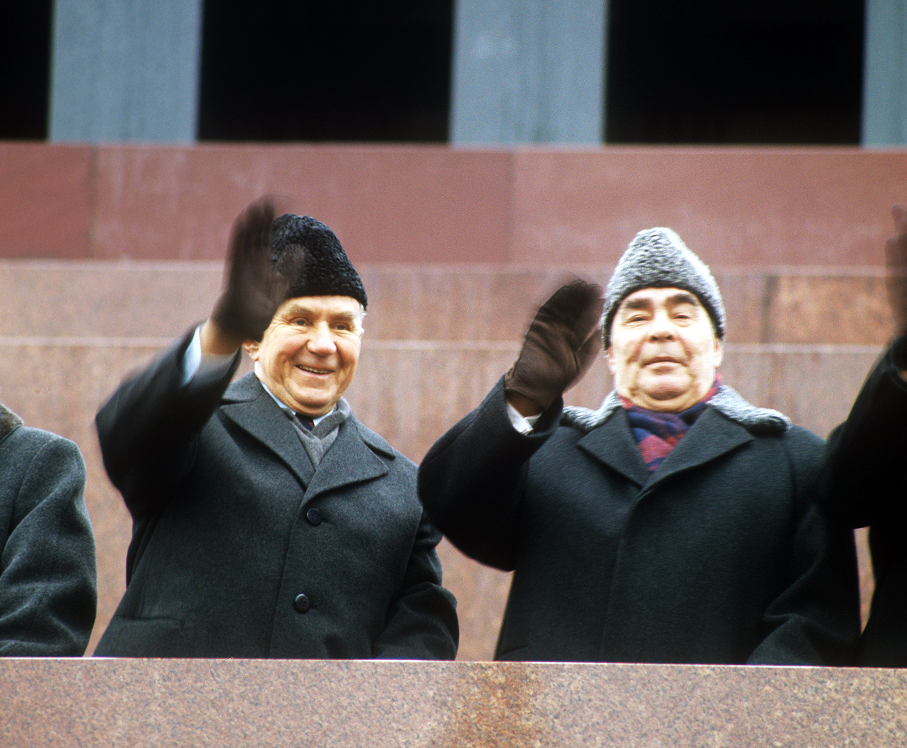 Chairman of the Council of Ministers Alexei Kosygin and General Secretary of the Central Committee of the Communist Party of the Soviet Union Leonid Brezhnev (L-R) seen on the tribune of Lenin's Mausoleum during the demonstration on the Red Square. Source: Vladimir Musaelyan/TASS
