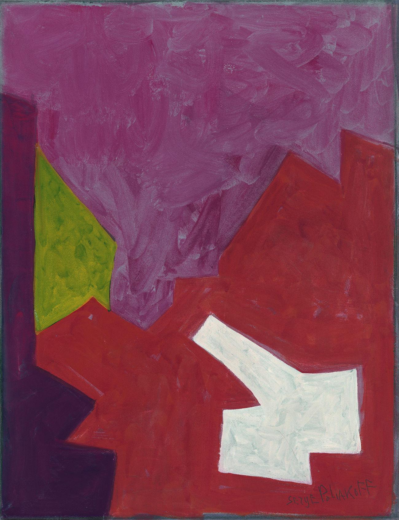 Composition abstraite dans les tons rouges par Serge Poliakoff. Crédit : Lancz Gallery