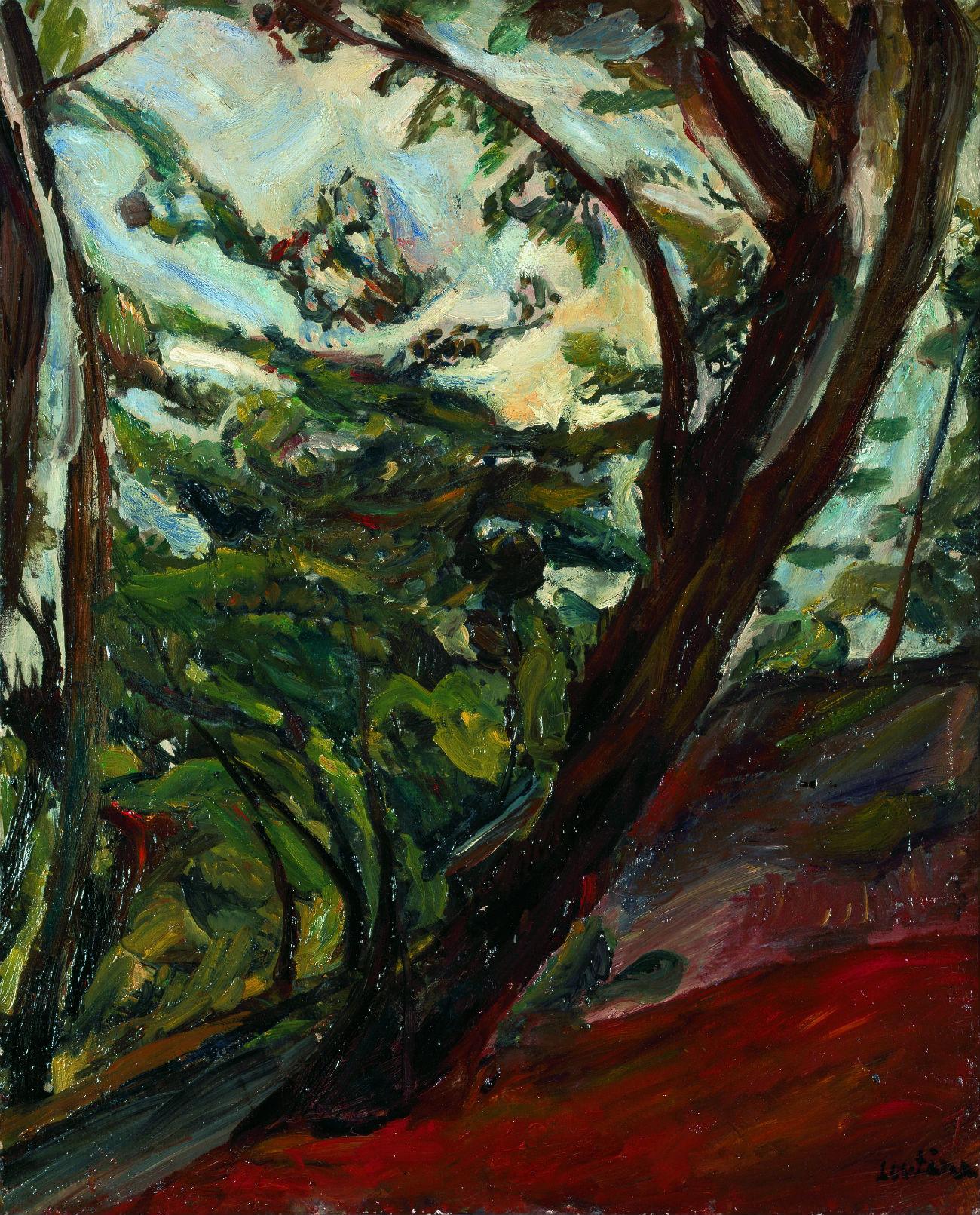 Grand arbre penché (1919) par Chaïm Soutine. Crédit : Galerie Taménaga