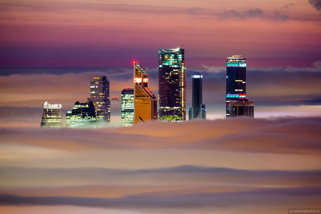 Vue sur les gratte-ciels du quartier d'affaires Moscow-City.