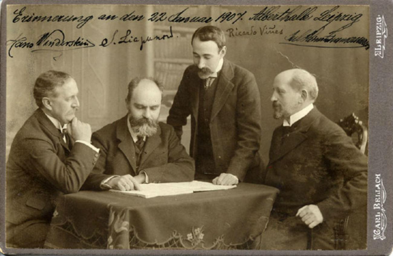 Sergueï Liapounov, pianiste russe (deuxième à gauche).