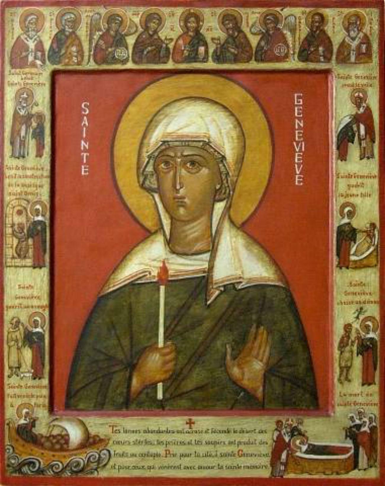 Geneviève. Icône orthodoxe. Crédit: Image libre de droit