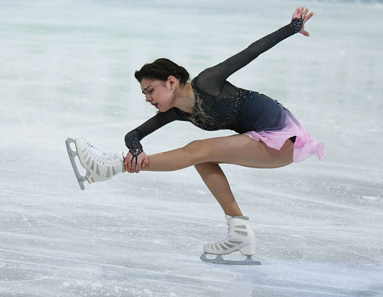 Evgenia Medvedeva durant le programme libre des championnats du monde à Helsinki.