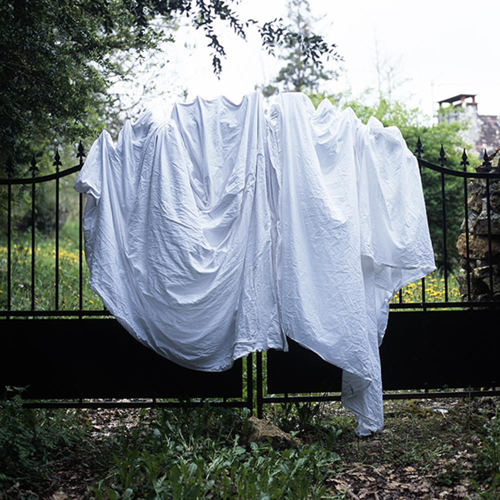 Dans sa nouvelle série, intitulée In Situ, Natacha Nikouline semble vouloir sortir du cadre de cette « photographie d'enfermement ». « On a tous des lieux qui nous marquent et qui, quand on ferme les yeux, créent une cartographie bien précise », affirme-t-elle. Aussi a-t-elle pour objectif de se rendre dans divers endroits revêtant un caractère symbolique particulier pour elle, et de recouvrir ces objets de mémoire d'un drap blanc. Une façon pour elle de mettre en avant cette idée de préservation, comme un secret que le spectateur ne peut découvrir et qu'il interprétera peut-être différemment, s'imaginant une toute autre réalité, peut-être rattachée à ses propres souvenirs. Crédit : Natacha Nikouline