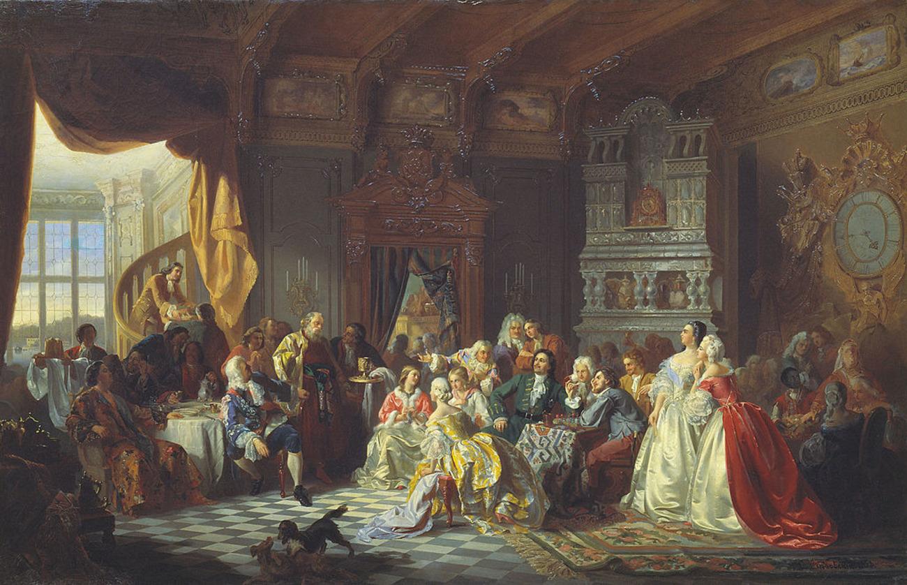 Le tsar Pierre Ier et sa cour par Stanisław Chlebowski.