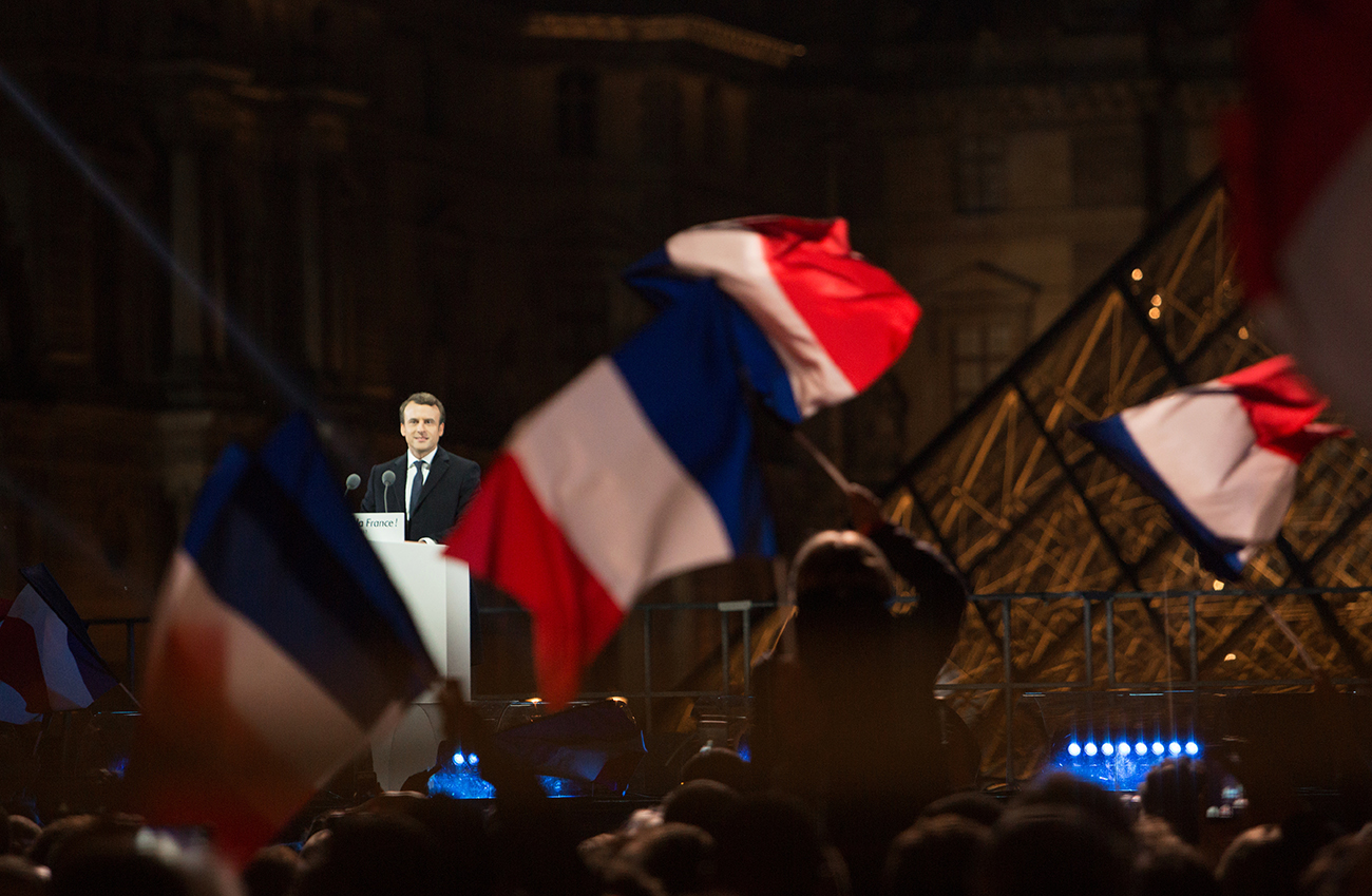 French presidential election winner, En Marche! leader Emmanuel Macron, center left, delivering his victory speech near Louvre, Paris.