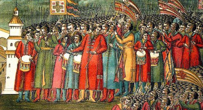 Strelci na izboru Mihaila Fjodoroviča za cara (1672). Pukovima strelaca pomagali su kozački odredi. Iz slobodnih izvora.