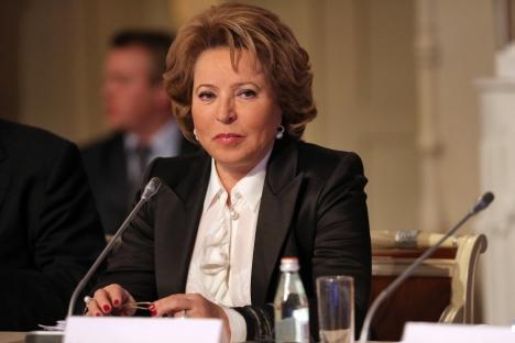 Politički popis predvodi predsjednica Vijeća Federacije Valentina Matvijenko. Izvor: ITAR-TASS.