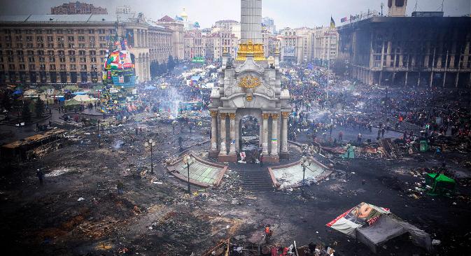 Trg neovisnosti u Kijevu (Majdan) nakon višemjesečnih protesta. Izvor: GettyImages / Fotobank