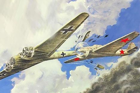 Na plakatu se avion s crvenim zvijezdama na krilima zabijao u rep njemačkog Messerschmitt. Izvor: Press Photo