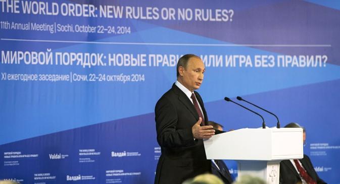 """Vladimir Putin na zasjedanju međunarodnog debatnog kluba """"Valdaj"""" u Sočiju: jednopolarni svijet je u suštini apologija diktature, i nad ljudima, i nad zemljama. Izvor: Reuters"""