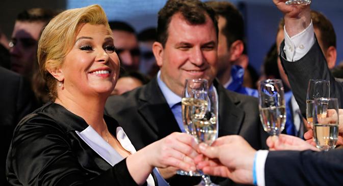 Kolinda Grabar-Kitarović slavi pobjedu. Izvor: Reuters