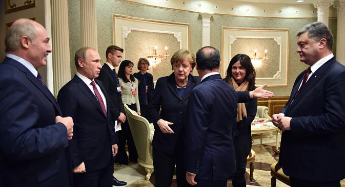 Najviši predstavnici Bjelorusije, Rusije, Njemačke, Francuske i Ukrajine u Minsku. Izvor: Reuters.