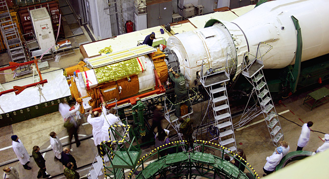 "Lansiranje satelita u orbitu s kozmodroma ""Pleseck"" (sjever europskog dijela Rusije) u visoku eliptičnu orbitu pomoću rakete nosača ""Sojuz-2.1b"" planiran je za ljeto 2015. Fotografija: Andrej Morgunov."