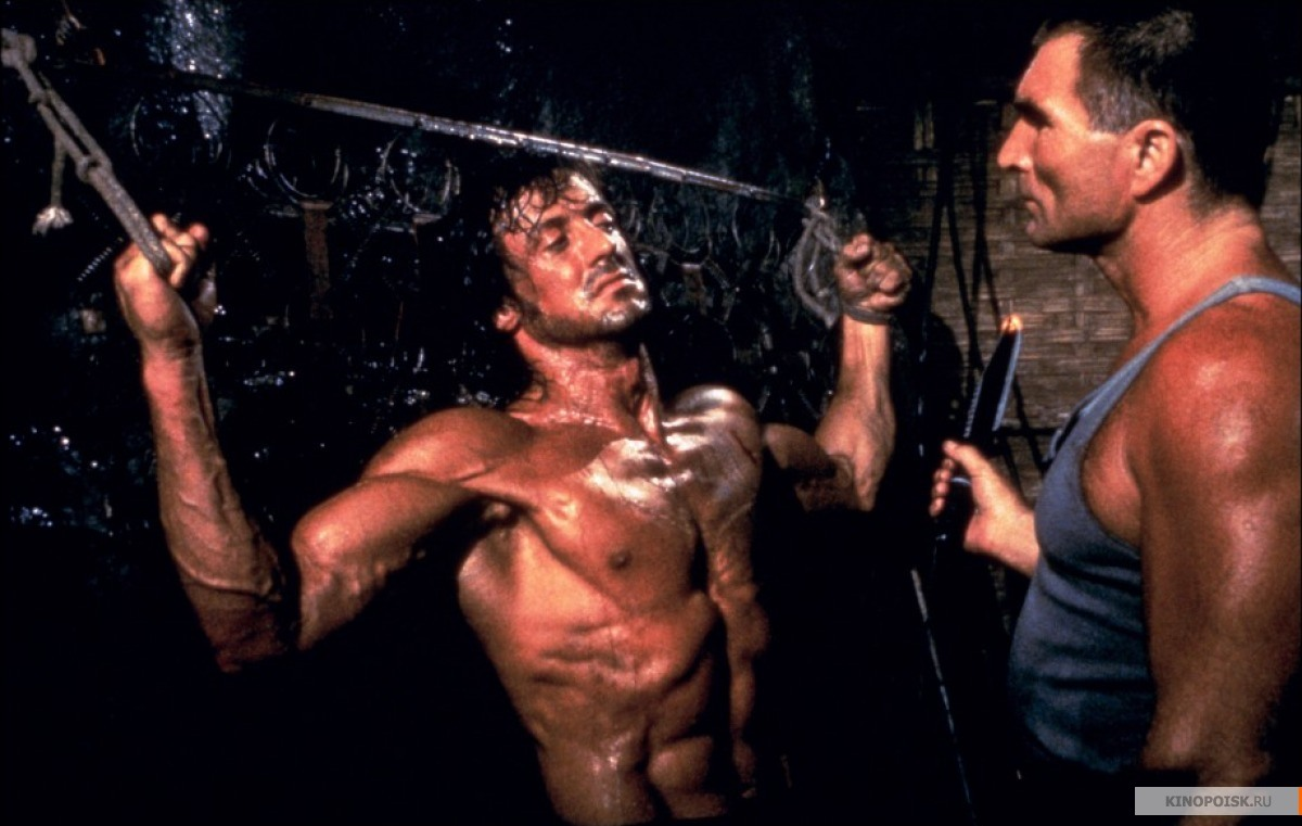 Sylvestr Stallone and Steven Berkoff in Rambo: First Blood Part II (1985).