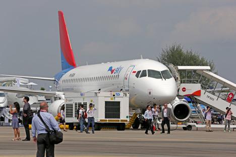 Maskapai Indonesia Sky Aviation telah menggunakan pesawat Sukhoi Superjet 100 sejak Maret 2013. Kredit: ITAR-TASS