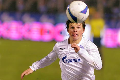 Pemain klub sepakbola Zenit Saint Petersburg, Andrey Arshavin. Kredit: Photoshot/Vostock Photo
