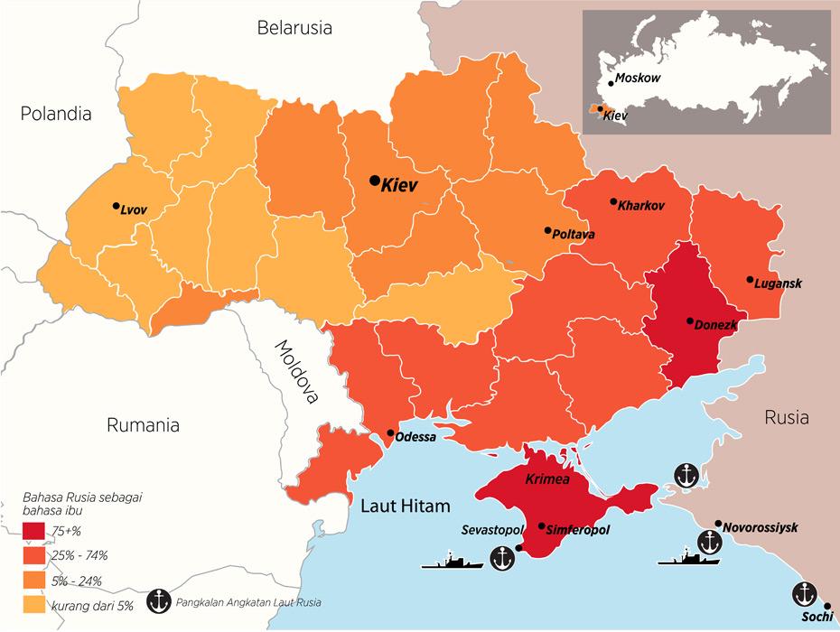 Infografik penggunaan bahasa Rusia di Ukraina