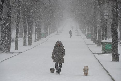 Hujan salju turun cukup lebat pada bulan Maret lalu di Moskow. Foto: Artem Zhitenev/RIA Novosti