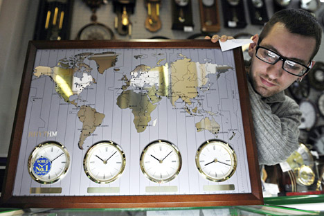 Rusia adalah negara terbesar di dunia yang terbagi dalam sembilan zona waktu. Foto: Sergey Yermojin/RIA Novosti