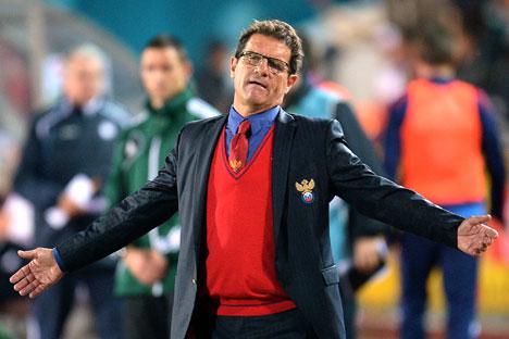 Menteri Olahraga Vitaly Mutko berperan penting dalam mendatangkan Capello ke Rusia telah menjadi pembela utama pelatih asal Italia ini setelah Rusia tersingkir dari Piala Dunia Brasil 2014. Foto: RIA Novosti