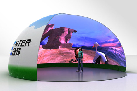 Program ini menggunakan teknologi spherical image (layar bola), sebuah format yang memproyeksikan konten di sekeliling Anda. Foto: Press Photo