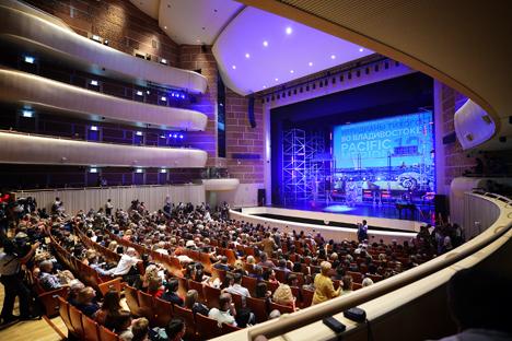 """Upacara penutupan Festival Film Internasional Asia Pasifik """"Pacific Meridian"""" ke-12 di Vladivostok, Rusia. Foto: ITAR-TASS"""