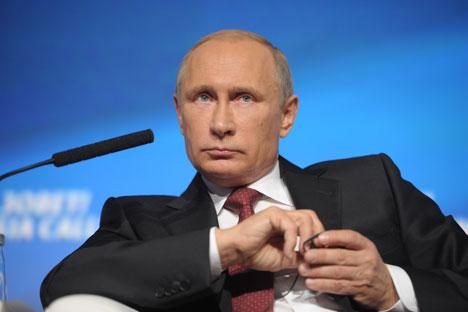 Presiden Vladimir Putin menghadiri Forum Investasi Russia Calling yang diselenggarakan oleh VTB Capital  di World Trade Center di Moskow, 2 Oktober 2014. Foto: Alexei Druzhinin/RIA Novosti
