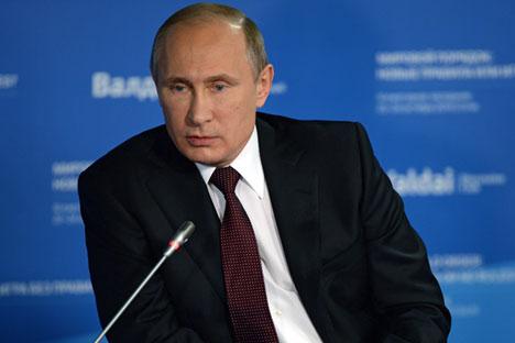 Putin menekankan bahwa upaya berbicara dengan Rusia melalui bahasa 'pakasaan' adalah tindakan yang sia-sia. Foto: Mikhail Voskressenski/RIA Novosti