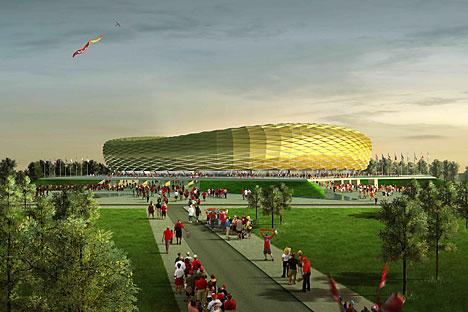 Sebuah gambar 3D dari Stadion Baltika yang diusulkan dibangun di Kaliningrad. Sebanyak 13 kota di Rusia akan menjadi tuan rumah Piala Dunia FIFA pada tahun 2018. Foto: TASS
