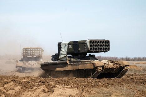 Berdasarkan foto-foto terakhir yang beredar dari Irak, kelompok Solntsepek pertama sudah diserahkan oleh produsen senjata asal Rusia pada angkatan bersenjata Irak yang sedang bertempur melawan ISIS. Foto: Kirill Braga/RIA Novosti