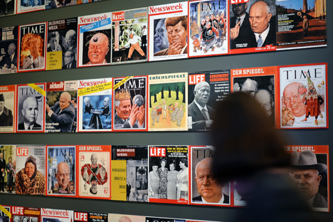 Salah satu tema besar dalam pameran yang didedikasikan untuk mengenang 120 tahun Nikita Khrushchev adalah peran Khrushchev dalam sejarah hubungan Rusia dengan Ukraina. Foto: Vladimir Presnya/RIA Novosti