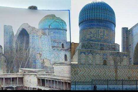 Masjid Bibi-Khanym di Samarkand (sekarang Uzbekistan).