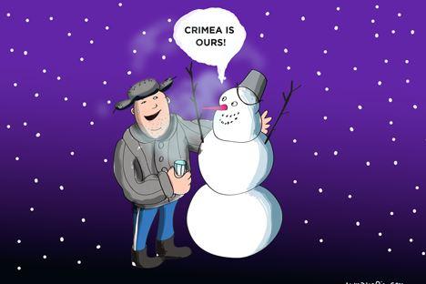 Setelah Krimea memutuskan bergabung dengan Rusia, frasa 'Krym nash' (Krimea milik kami) menjadi populer. Ilustrasi oleh Niyaz Karim.