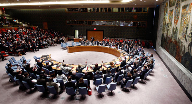 """Rancangan resolusi ini sudah diperkenalkan dan sedang dibahas. Kami berharap bahwa resolusi ini akan diterima oleh Dewan Keamanan PBB dalam waktu dekat ini,"" ujar Sekretaris Perwakilan Permanen Federasi Rusia di PBB Aleksey Zaytsev. Kredit: Reuters"
