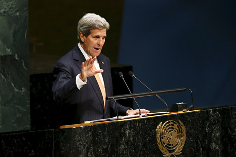 Menteri Luar Negeri AS John Kerry berpidato dalam pembukaan Konferensi Peninjauan Kembali Trakat Nonproliferasi Nuklir di Markas Besar PBB, New York, AS (27/4). Foto: Reuters