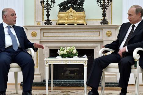 Saat kunjungan Perdana Menteri Irak Haider Al-Abadi ke Moskow. Foto: EPA