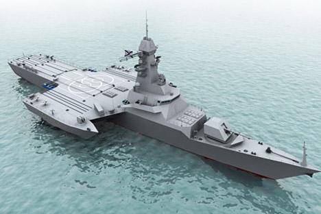 Amerika telah membuat kapal tempur tipe ini, begitu pula Inggris, bahkan Tiongkok sudah menggunakan kapal ini untuk militer mereka. Foto: TV Zvezda